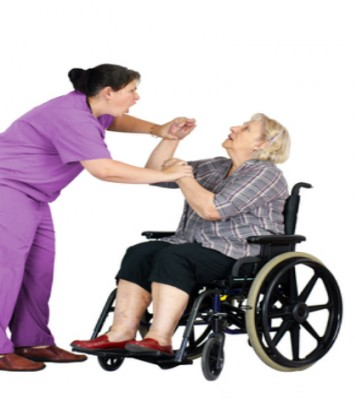 caregiver and old lady fighting