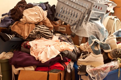 scattered clothes and shoes