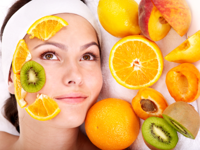 woman with anti aging fruits